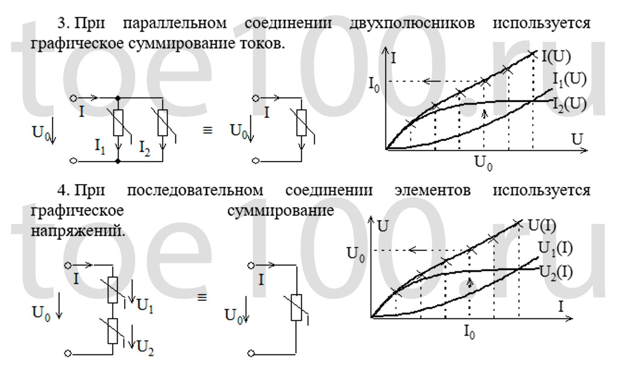Схема и формулы последовательного и параллельного соединения